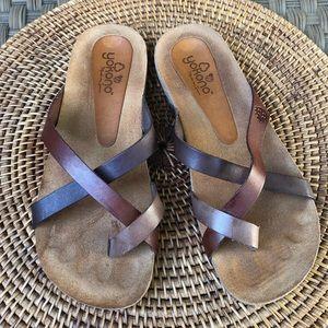 Yokono leather slip on sandals